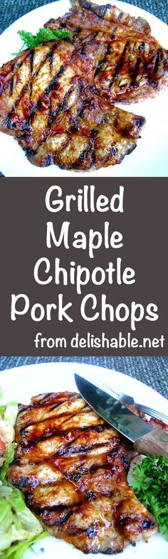 Grilled Maple Chipotle Pork Chops turn out moist and delicious, with just a bit of tang and heat from the basting sauce. We LOVE these chops! | delishable.net