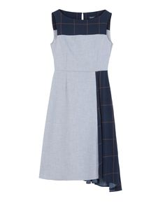 Asymmetrical dress with printed inserts