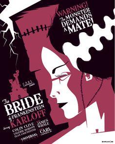 The Bride of Frankenstein poster by Tom Whalen Tom Whalen, Best Movie Posters, Movie Poster Art, Ghostbusters Poster, Poster Minimalista, Art Et Design, Graphic Design, Graphic Art, Bride Of Frankenstein