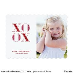 Pink and Red Glitter XOXO Valentine's Day Card