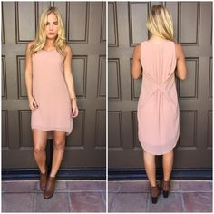 Pale Pink Pleat Bow Shift Dress