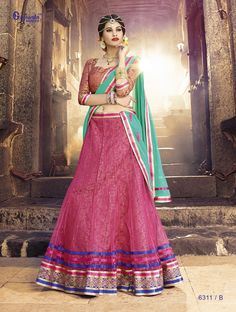 Net lehenga brocket lehenga Inner, Brocket -blouse, chiffon Duppata with diamond work. Embrodiary lace and ready lace and fancy lace.