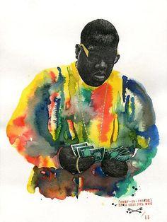 Biggie by Felipe Merida in Brooklyn, New York. | The Watercolor Gallery