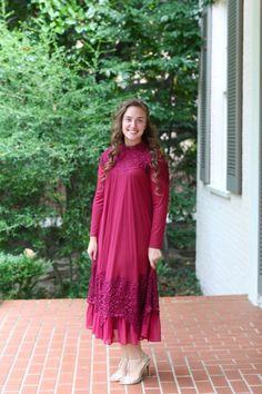 Modest cranberry red swiss-dotted tulle and Venetian lace formal dress with beautiful detail. Modest fashion, bridesmaid dresses, ruffles, and lace. www.daintyjewells.com