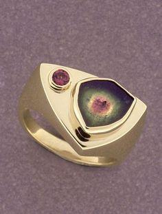 | Patrick Murphy | 14k gold ring with watermelon tourmaline and pink tourmaline