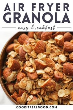 Air Fryer Granola is so quick and easy to throw together. You can enjoy fresh granola without any additives or excess sugar with the help of your air fryer in less than 15 minutes. New Recipes For Dinner, Healthy Dinner Recipes, Whole Food Recipes, Healthy Snacks, Side Recipes, Quick Recipes, Easy To Make Breakfast, Veggie Chips, Air Fryer Recipes Easy