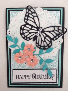 Stampin up butterfly card wit in colour paper
