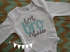 Little Brother Applique Bodysuit, Baby Bro One Piece, Sibling Shirt Set, Personalized Little Bro Embroidered Gown, Monogram Baby Boy by AllStitchedUpbyJill on Etsy https://www.etsy.com/listing/261668467/little-brother-applique-bodysuit-baby