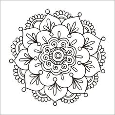 'Simple Mandala Flower' Spiral Notebook by mermaidnatalie – Today Pin – Tattoo Pattern Mandala Doodle, Mandala Art Lesson, Mandala Drawing, Mandala Painting, Dot Painting, Mandala Mural, Henna Mandala, Silk Painting, Mandala Coloring Pages