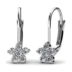 FAPPAC Rhodium Plated Cluster Crystals Flower Dangle Earrings Enriched with Swarovski Crystals -- Click image to review more details.-It is an affiliate link to Amazon. #Earring