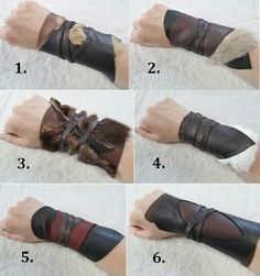 1 Tribal Leather Cuff bracelet Viking costume by .