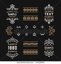 Set of Line Art Decorative Geometric Vector Frames and Borders with Golden and Black Colors. Vector Ornaments, Vector Decoration, Line Ornament, Vector Logos, Vector Labels