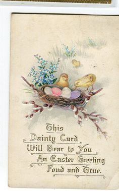 Happy Easter Vintage Postcard Chicks eggs by sharonfostervintage, $2.00