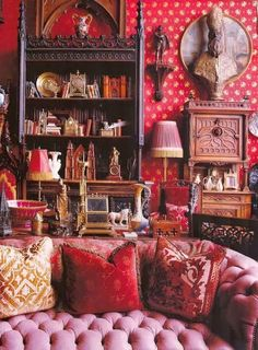 bohemian interior decor living room dream home house reds pinks Bohemian Interior, Bohemian Decor, Bohemian Style, Gothic Interior, Ethnic Decor, My Living Room, Living Spaces, Ethnic Living Room, Living Area