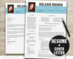 resume template word cover letter template instant download modern resume design cv template resume with photo - Modern Resume Templates Word