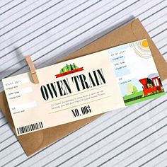 Train Party - Invitation Idea; LOVE THIS! Now where to get the envelopes so I can make this at home...hmmm