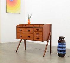 Danish Modern Teak Entry Chest Drawers Table Micro Credenza Mid Century Vintage | eBay