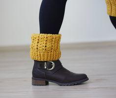 Crochet boot socks, Crochet boot cuffs, Women leg warmers, Mustard Crochet cuffs, Women Knee socks, Knee warmers +