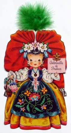 1948 Hallmark Dolls of the Nations Card No. 19 Antoinette France