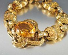 Pulsera del Victorian del vintage de 1840 de oro Puerta de Enlace citrina de la piedra preciosa de la pulsera