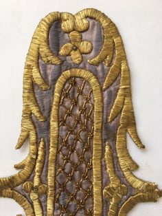 ANTIQUE OTTOMAN TURKISH GOLD METALLIC HAND EMBROIDERY FOR APPLIQUE nn11 2 • $149.00