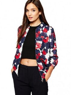 Thanksgiving Rose Print Jacket with Long Sleeves...Get it: www.teelieturner.com  Street style, zip closure, chiffon coat jacket. Perfect for autumn. #teelieturner #chicnova #teelieturnershoppingnetwork