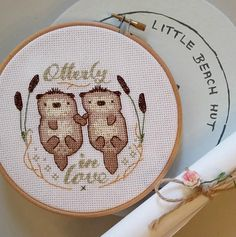 Otterly In Love Otter cross Stitch Pattern embroidery