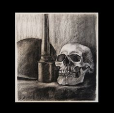 Charcoal Drawing, Skull WW2 Helmet and Grenade Still life, dystopia zombie apocalypse $175.00