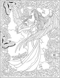 Welcome to Dover PublicationsCreative Haven ELEGANT ANGELS Coloring Book By: Marty Noble Welcome to Dover Publications COLORING PAGE 3/6