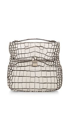 Bi-Color Embossed Croc Kent Bag In Optic White by Proenza Schouler for Preorder on Moda Operandi