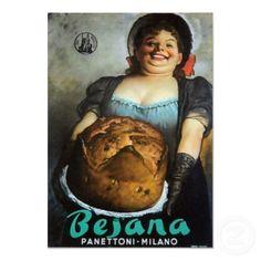 Vintage Italian poster for Besana Panettoni, Milano by Italian graphic designer and illustrator Gino Boccasile via poster classica Vintage Italian Posters, Pub Vintage, Vintage Advertising Posters, Old Advertisements, Vintage Labels, Food Advertising, Vintage Food, Vintage Travel, Poster Retro