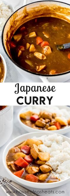Easy Japanese Chicken Curry makes a quick and delicious weeknight meal that is super satisfying with chunks of tender chicken and pieces of carrot, potato, and onion all simmered in a savory, flavorful curry sauce. The leftovers are even better the next day! #Japanese #chicken #curry #easy #dinner #potatoes #carrots #beef