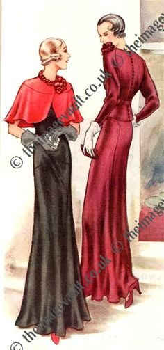 McCall 7240 (Evening Dress and Cape) and McCall 7238 in 1933
