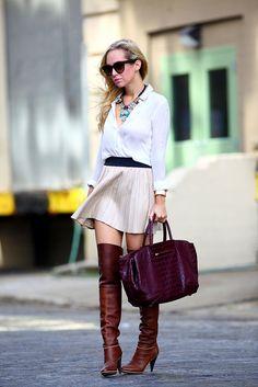 Brooklyn Blonde   Top: Elizabeth & James; Leather Skirt: Zara; Handbag: Brian Atwood Grace; Boots: Balenciaga; Necklace: Lulu Frost for J Crew; Bracelet: Hermes; Sunglasses: Celine