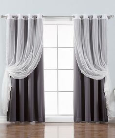 Love this Dark Gray Zigzag Lace Layered Blackout Curtain Panel - Set of Four on #zulily! #zulilyfinds