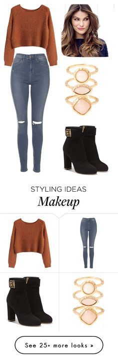 """Untitled #90"" by nalzeyy on Polyvore featuring Topshop, Salvatore Ferragamo, Monsoon and ULTA"