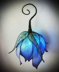 blue, crafts, diy, fairy, fantasy, flower, handmade, lamp, lantern, leaf, light, First Set on Favim.com, hand lantern