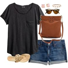 """""""the 1975 concert tonight!! (:"""" by classically-preppy on Polyvore black t-shirt jean shorts tory burch wayfarers"""