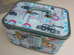 decoupage tips - in this tutorial she decoupaged an old train case - you see the inside and outside of the project