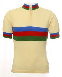 Fabulous retro merino wool ecru, blue, red and green cycling jersey from Jura Cycle Clothing Cycling Tops, Urban Cycling, Cycling Gear, Cycling Jerseys, Cycling Shorts, Cycling Outfit, Cycling Clothing, Womens Cycling Kit, Bike Wear