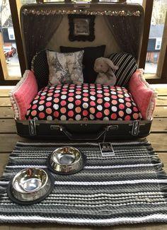 Suitcase Dog Bed #BlackWhiteAndPolkaDots