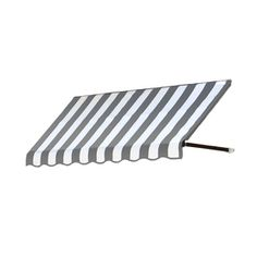 Awntech�4-ft 4-1/2-in Wide x 2-ft Projection Gray/White Striped Open Slope Window/Door Awning