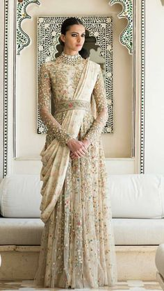 Buy latest indo western gowns and dresses online only on Panache Haute Couture. Find a large variety of party wear and bridal gowns at discounted rates. Muslim Wedding Dresses, Pakistani Dresses, Indian Dresses, Indian Outfits, Indian Wedding Gowns, Designer Gowns, Indian Designer Wear, Bridal Outfits, Bridal Dresses
