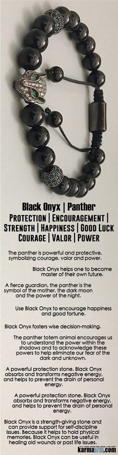 The pantheris #powerful and #protective, symbolizing #courage, #valor and #power.A fierce guardian, the #panther is the symbol of the mother, the dark moon and the power of the night.  #Beaded #Beads #Bijoux #Bracelet #Bracelets #Buddhist #Chakra #Charm #Crystals #Energy #gifts #gratitude #Handmade #Healing #Jewelry #Kundalini #LawOfAttraction #LOA #Love #Mala #Meditation #Mens #prayer #pulseiras #Reiki #Spiritual #Stacks #Stretch #Womens #Yoga #YogaBracelets