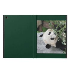 """iPad Air Case, Giant Panda, Green - This iPad Air case is part of our """"Giant Pandas"""" collection. It is a great gift for your teacher, mother's day, father's day, babysitter, anyone who lives pandas. There are matching greeting cards. The dark green background looks great with the photo. What a nice Christmas gift. My original photo was taken in Chengdu, China. All Rights Reserved © 2013 Alan & Marcia Socolik. #iPadAir #iPadAirCases #CasesForIPadAir #GiantPandas #Pandas #PandaLovers…"""