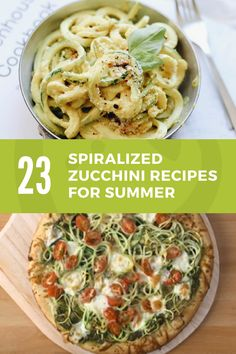 23 Spiralized Zucchini Recipes for Summer (Super Healthy Kids) Best Spiralizer, Spiralizer Recipes, Zoodle Recipes, Chef Recipes, Healthy Recipes, Healthy Meals, Healthy Food, Vegetarian Dinners, Top Recipes