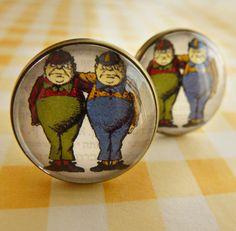 Tweedle dee and tweedle dum cufflinks (from Alice in Wonderland). $27.00, via Etsy.