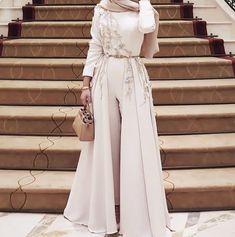 Online Shop Long Sleeves Grey Jumpsuit with Removable Skirt Women Fashion Clothing Evening Gowns Formal Wear Dress Long Party vestidos de g Evening Dress Long, Muslim Evening Dresses, Hijab Evening Dress, Hijab Dress Party, Muslim Dress, Hijab Outfit, Evening Gowns, Prom Dresses, Arab Fashion