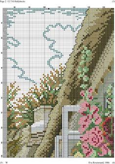 Hollyhocks 3 of 12 Counted Cross Stitch Patterns, Cross Stitch Designs, Cross Stitch Embroidery, Handmade Crafts, Diy And Crafts, Cross Stitch House, Cross Stitch Landscape, Hollyhock, Ribbon Work