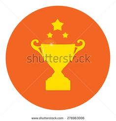 Winner badge,champion's cup, celebration, greeting card, yellow on red. - stock vector